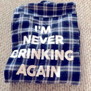 Jac Vanek I'm never drinking again flannel